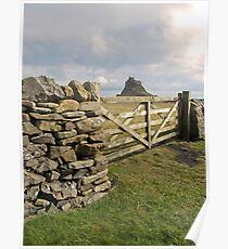 From behind the gate .Lindisfarne Castle. Poster