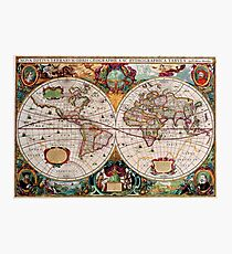 Vintage World Map Photographic Print