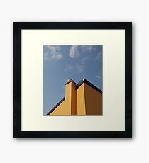 Yellow Building Against Blue Sky, Piran Framed Print
