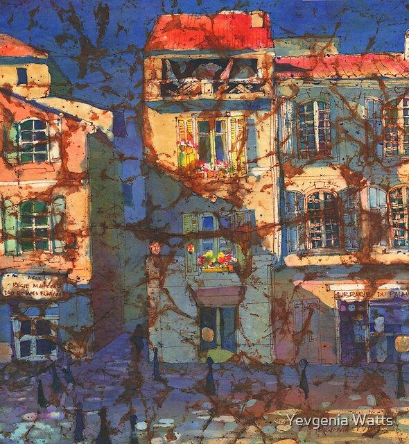 French Windows Watercolor Batik by Yevgenia Watts