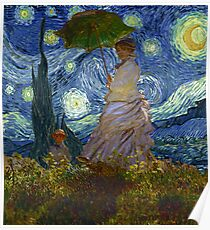 Monet Umbrella on a Starry Night Poster