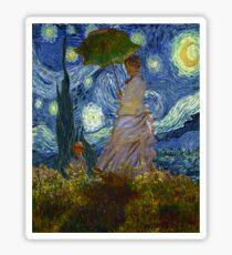 Monet Umbrella on a Starry Night Sticker