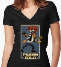 Prawn Solo Women's Fitted V-Neck T-Shirt