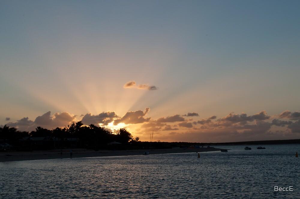 Sun burst over Shark Bay by BeccE