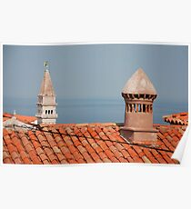 Chimneys in Piran, Slovenia Poster