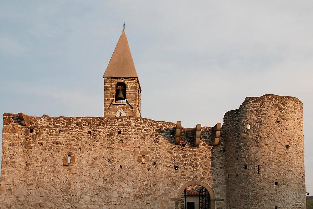 Belltower and Wall of SS Trinity in Hrastovlj by jojobob