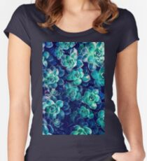 Plants of Blue And Green Women's Fitted Scoop T-Shirt