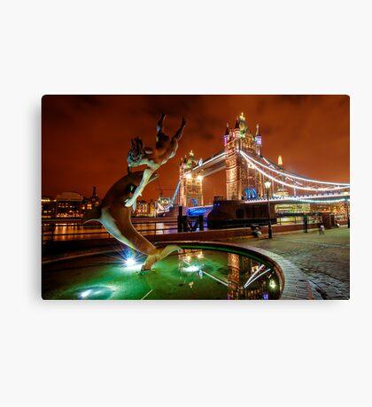 Dolphin Fountain, Tower Bridge, London Canvas Print