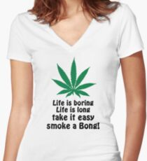 Smoke A Bong! Women's Fitted V-Neck T-Shirt