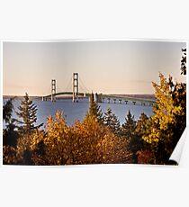 Mackinaw City Bridge Michigan Autumn Fall St Ignace Poster