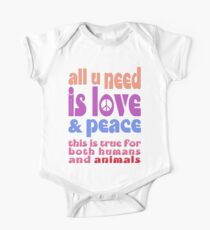 all u need is love & peace - love, peace, rescue, animal rights, vegan One Piece - Short Sleeve