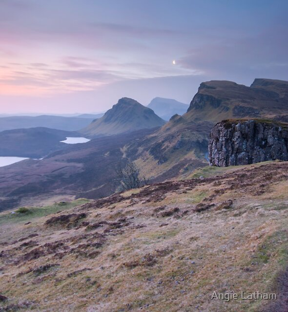 Isle of Skye : Quiraing Moonset by Angie Latham