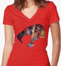 Camiseta entallada de cuello en V Siente la magia Escucha el rugido