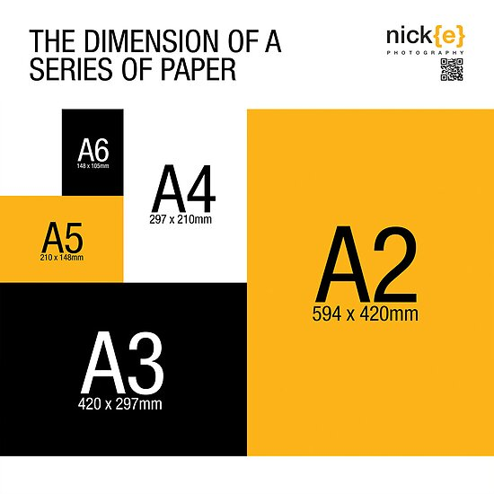 a series of paper sizes