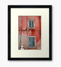 Tatty Blue Shutters, Slovenia Framed Print