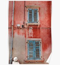 Tatty Blue Shutters, Slovenia Poster