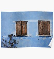 Two Windows in Blue Wall in Topolo Poster