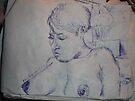 Female Nude/Study -(250313)- Blue biro pen/A5 sketchbook by paulramnora