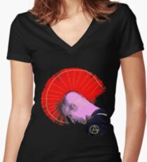 Red Mohawk Punk Women's Fitted V-Neck T-Shirt