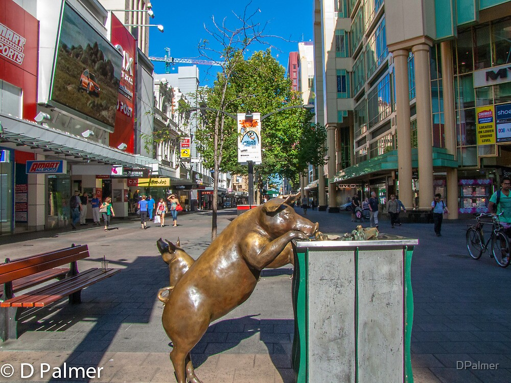 Rundle Mall - Looking down the Rundle Mall past the Pigs by DPalmer