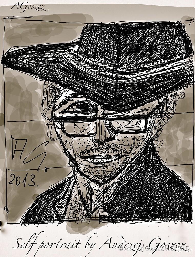 """Self portrait , drawing by Andrzej Goszcz , Author:  Andrzej Goszcz , nickname """" Brown Sugar"""" . by © Andrzej Goszcz,M.D. Ph.D"""