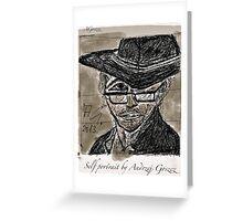 """Self portrait , drawing by Andrzej Goszcz , Author:  Andrzej Goszcz , nickname """" Brown Sugar"""" . Greeting Card"""