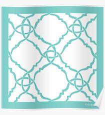 classic modern lattice in soft seafoam teal Poster