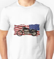 Patriotic US Flag, Motorcycle, Motorbike T-Shirt