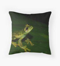 Golden Flecked Glass Frog Throw Pillow