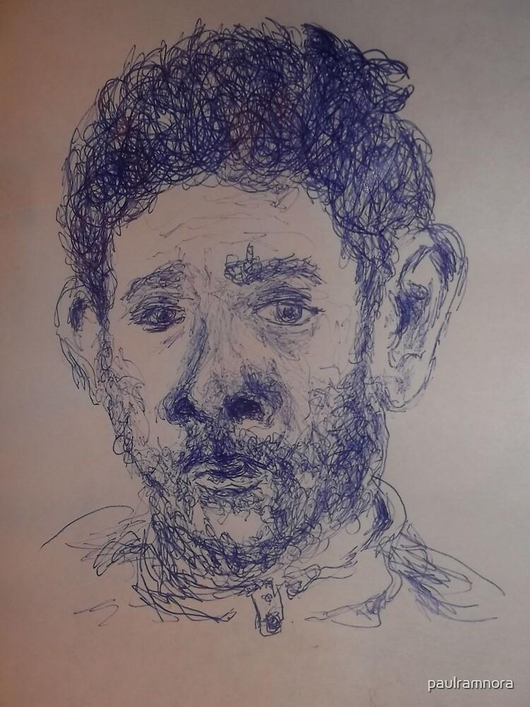 Self-portrait/Close up -(270313)- A5 Sketchbook/Blue biro pen by paulramnora
