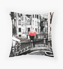 Red Umbrella in Venice Throw Pillow