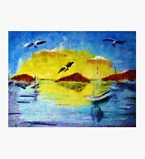 Sun down on the sailboats, watercolor Photographic Print