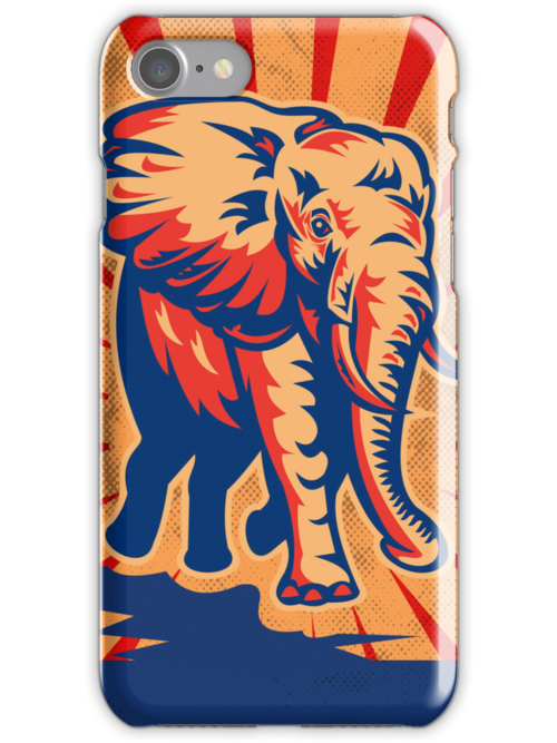 Lucky Retro Elephant iPhone 5 Case  / iPad Case  / Samsung Galaxy Cases  by CroDesign