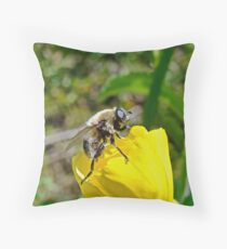 Bee Mimic on Primrose Throw Pillow