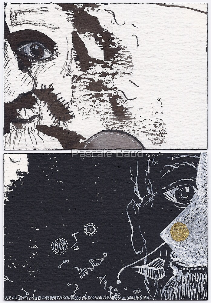 """ACEO - Series """"Mental Landscapes or Portraits"""" #13 : The old crazy man by Pascale Baud"""