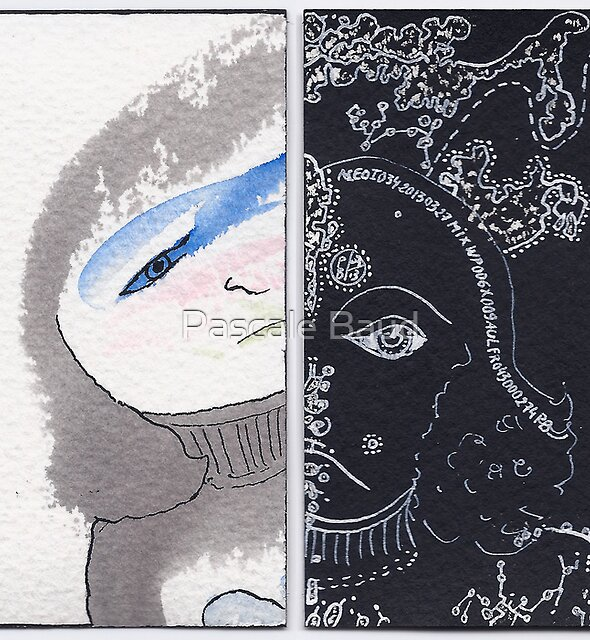 """ACEO - Series """"Mental Landscapes or Portraits"""" #34 : A little girl by Pascale Baud"""