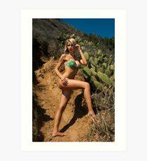 Bikini model posing in front of kaktus field in Palos Verdes, CA Art Print