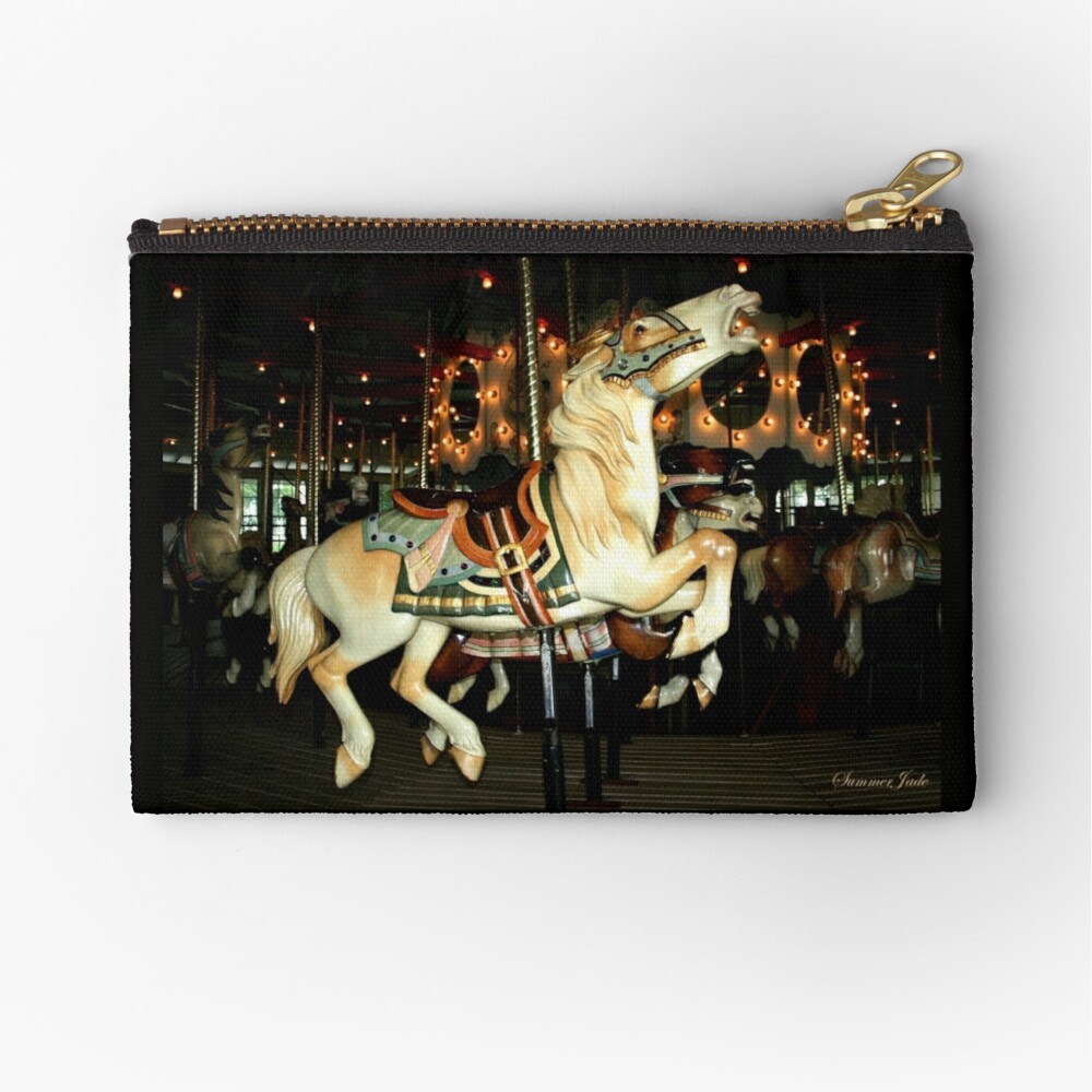Beautiful Horse on the Carousel Zipper Pouch