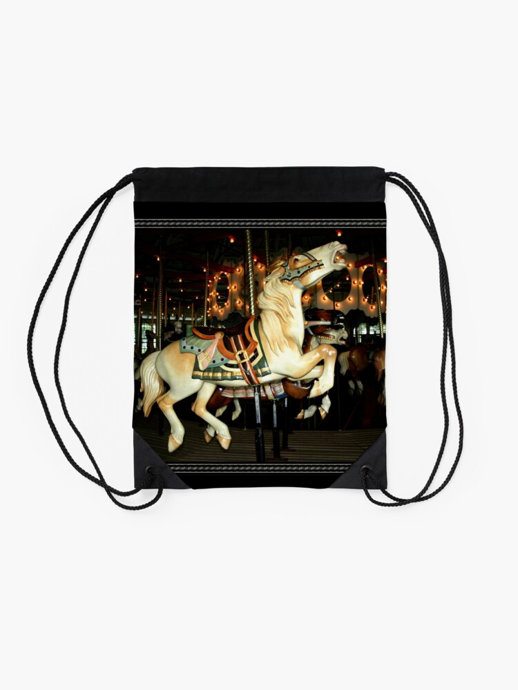 Alternate view of Beautiful Horse on the Carousel Drawstring Bag