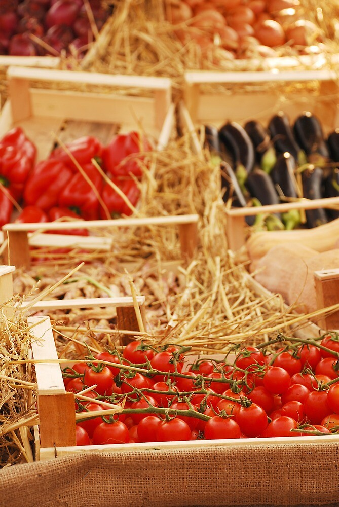 Box of Cherry Tomatoes in Fruit and Veg Display by jojobob