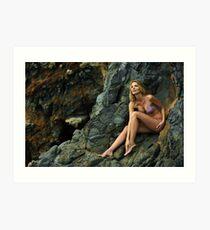 Bikini model posing in front of rocks in Palos Verdes, CA II Art Print