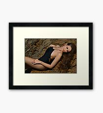 Beauty shot of swimsuit model on location Framed Print