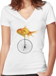 unicycle goldfish Women's Fitted V-Neck T-Shirt