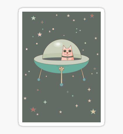 CAT IN SPACE SHIP Sticker