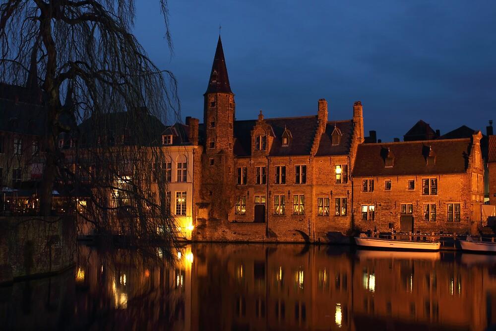 Bruges Rozenhoedkaai Night Scene by kirilart