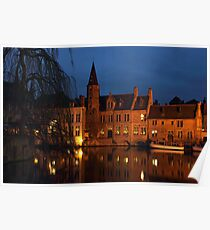 Bruges Rozenhoedkaai Night Scene Poster