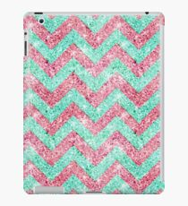 Chevron Pattern, pink & teal glitter photo print  iPad Case/Skin