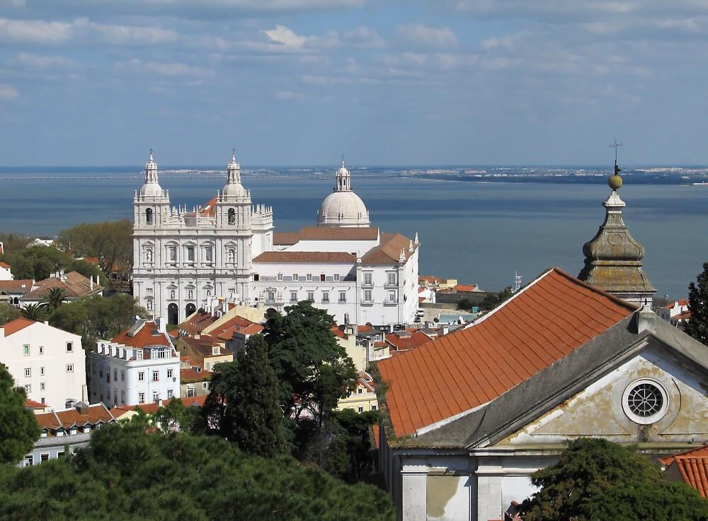 Lisbon Panoramic view toward The Vasco da Gama Bridge by kirilart