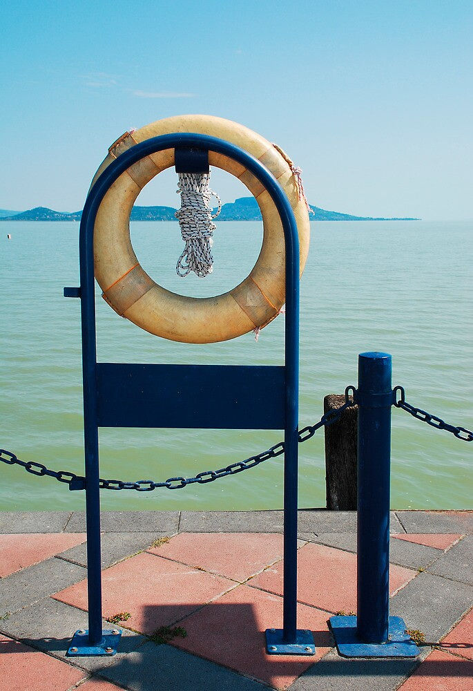 Yellow Life Ring by Lake by jojobob