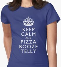 Keep Calm and Pizza Booze Telly Womens Fitted T-Shirt